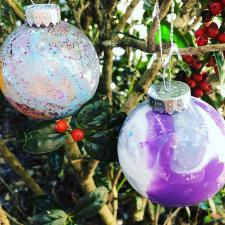 Marbled Ornaments by Glitter on a Dime