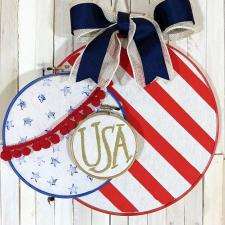 Patriotic Embroidery Hoop Door Décor
