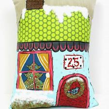 Christmas House Mixed Media Pillow