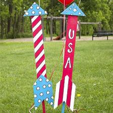 Patriotic Rocket Yard Ornaments
