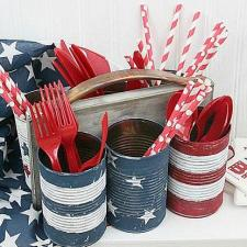 Patriotic Tin Can Utensil Holder