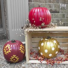 Painted Outdoor Porch Pumpkins