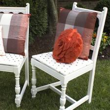 Painted White and Gold Polka Dots Chairs