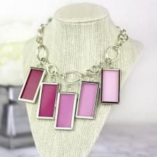 Pretty Pink Glass Painted Necklace