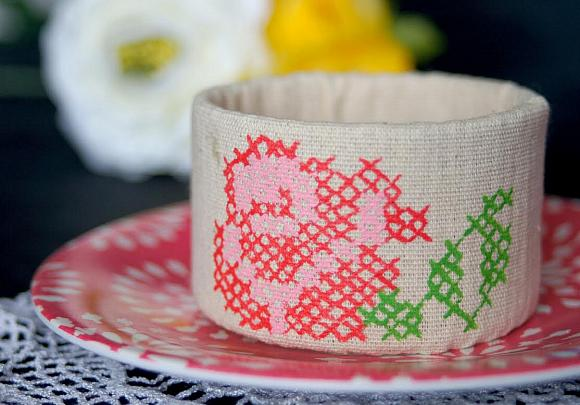 Upcycled Painted Cross Stitch Cuff