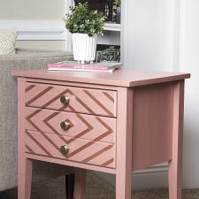 Geometric Matte Metallic Nightstand