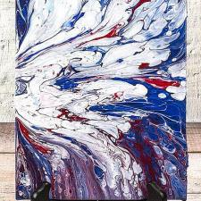 Pouring with Patriotic Colors on Canvas