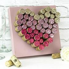 Glitzy Wine Cork Heart