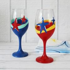Fourth of July Wineglass Pair