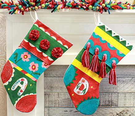 personalized christmas stockings in bright, playful colors