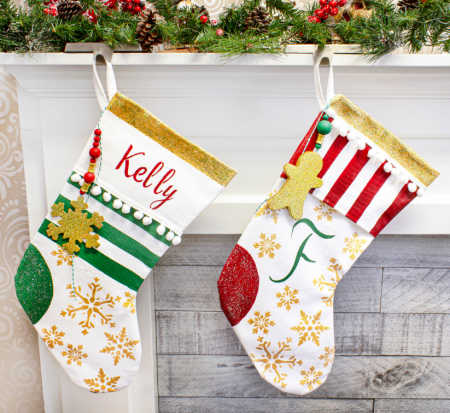 Personalized stockings in traditional christmas colors