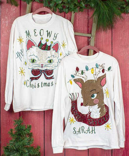 Personalized christmas sweaters made with fabric paint