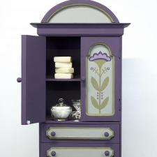 Small Plum Colored Cabinet with Flowers