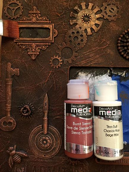 i also love to add a bit of a weathered patina look to my rusted pieces to create that patina look combine decoart media fluid acrylics cobalt