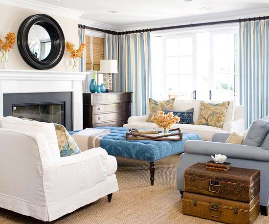There Are Definitely Some Traditional Touches In This Living Room, Featured  At Better Homes U0026 Gardens, Like The Damask Print Denim Cocktail Ottoman. Part 8