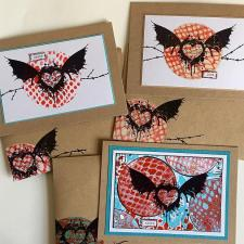 Gelli Plate Printed and Stamped Cards