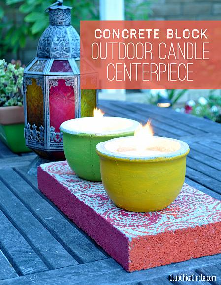 Decoart crafts concrete outdoor candle centerpiece
