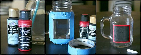 Decoart blog crafts chalkboard mason jar mugs for What kind of paint do you use to paint glass