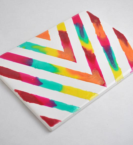 DecoArt Blog - Crafts - Rainbow Glass Stained Chevron Art Tile