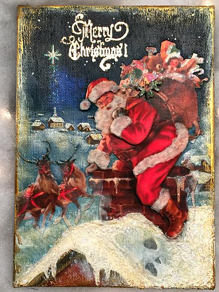 Santa and the Chimney Vintage Style Postcard Canvas