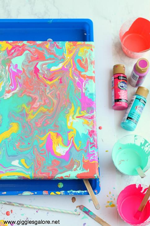 Instruction #8 - Colorful Dirty Pour Painting