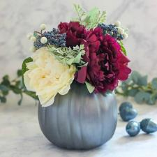 Fall Metallic Floral Pumpkin