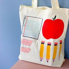 DIY Painted Back to School Tote