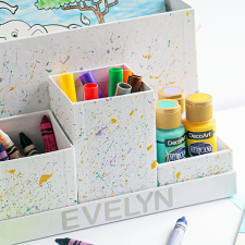 DIY Paint Splatter Art Supply Organizer