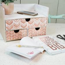 Stenciled Rose Gold Organizer by Holly Antoine
