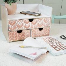 Patterned Rose Gold Organizer by Holly Antoine