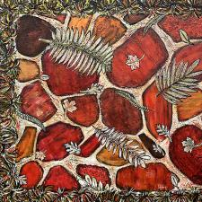 Fall Stepping Stone - Mixed Media on Canvas