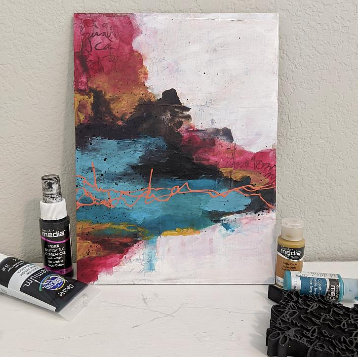 Learn How to Paint A Mixed Media Abstract Canvas