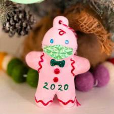 2020 Masked Gingerbread Man Ornament