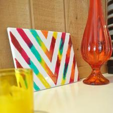 Rainbow Glass Stained Chevron Art Tile