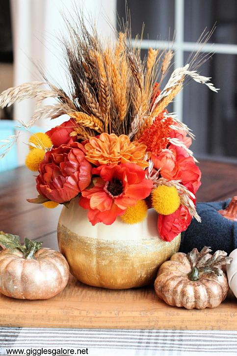 Gold Glitter Pumpkin Centerpiece with Holographic Illusions trade