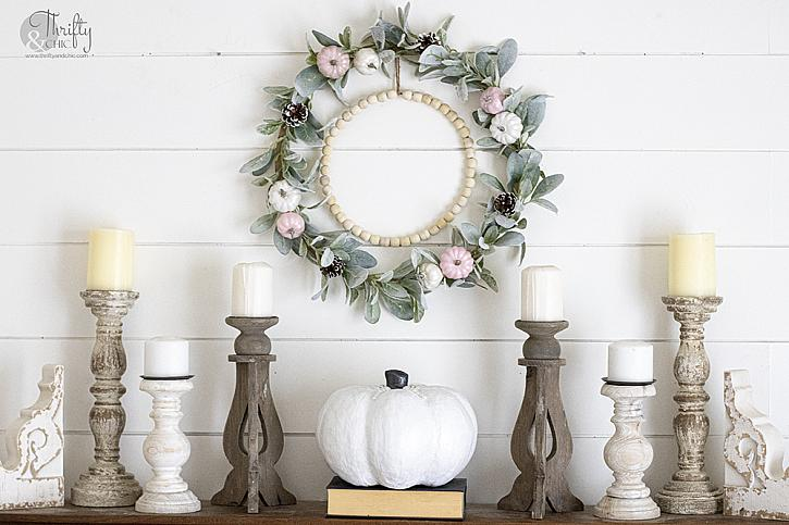 Pearly Pink  White  and Green Fall Wreath