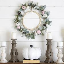 Pearly Pink, White, and Green Fall Wreath