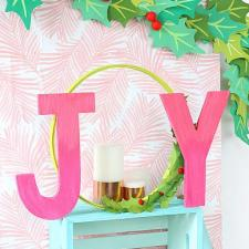 JOY Word Art Wreath | Damask Love