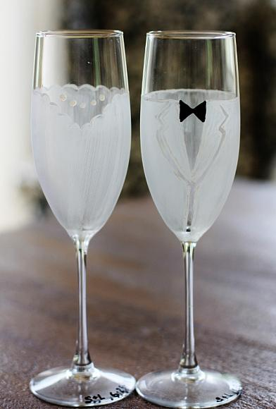 Bride And Groom Flute Glasses