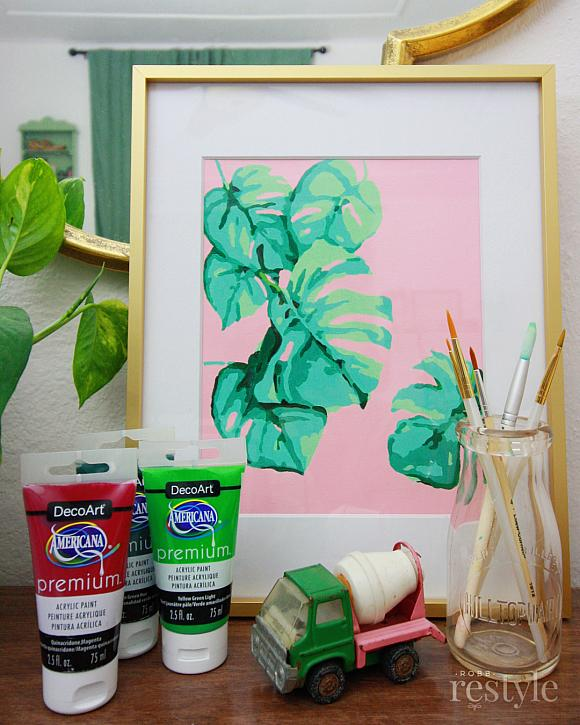 Monstera Plant Printable Paint-By-Number