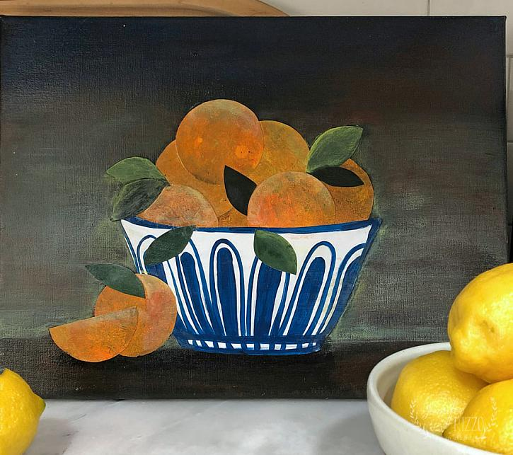 Still Life Bowl of Oranges Collage Art