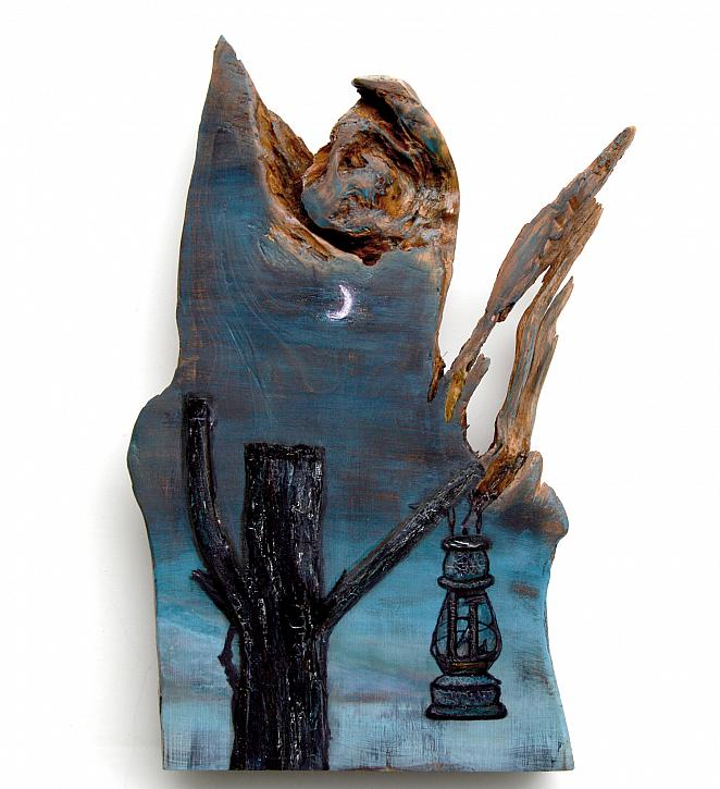 Moonlit Lantern Mixed Media Monolith