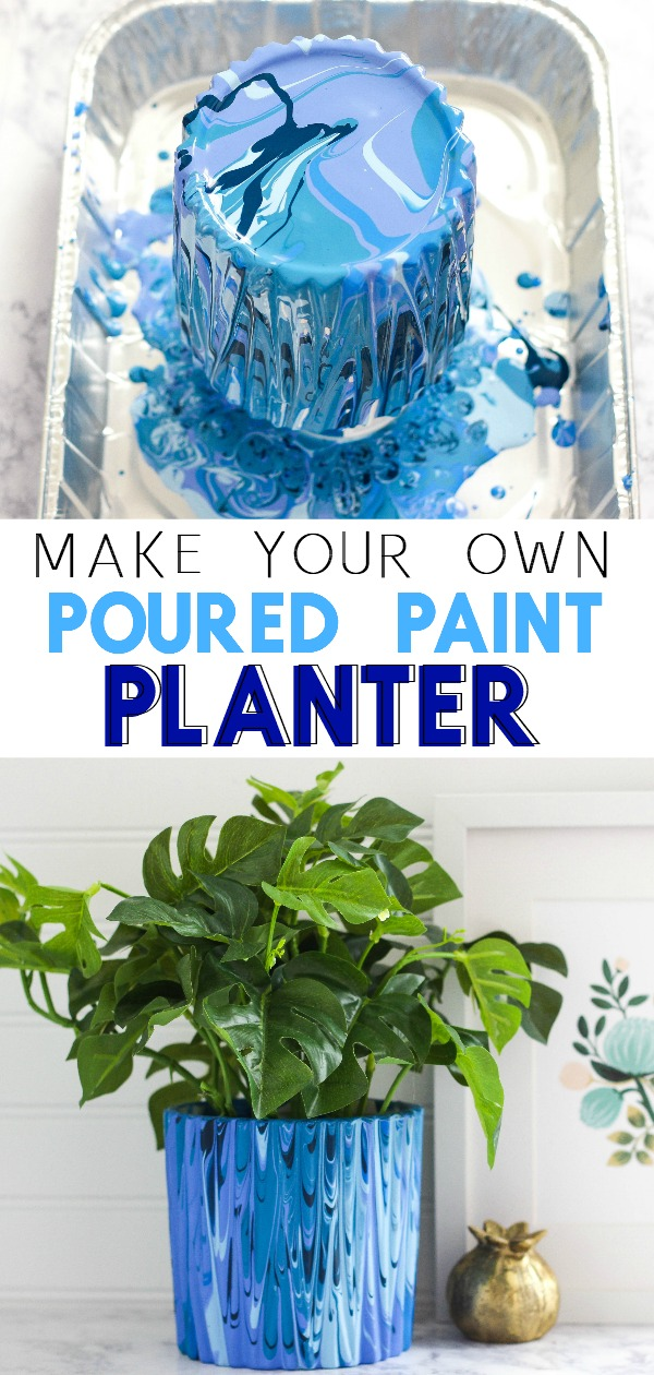 Paint Poured Planter Pinnable Image