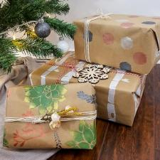 Stenciled Metallic Kraft Wrapping Paper