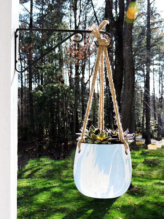Bright Paint Poured Hanging Planter