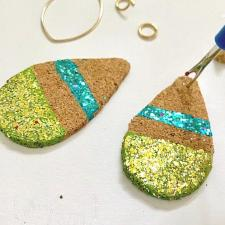 Cork Teardrop Earrings with Galaxy Glitter