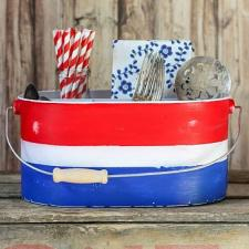 Red, White & Blue Distressed Silverware Caddy