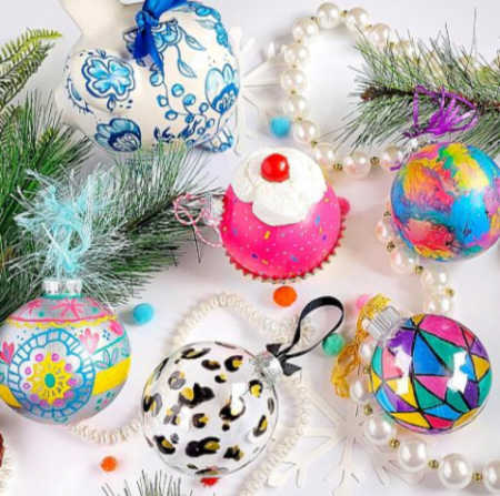 Christmas ornaments painted with glass paint markers