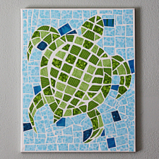 Fabric Mosaic Turtle on Canvas