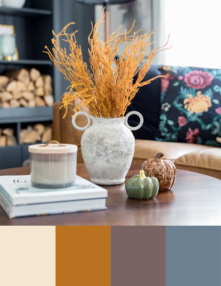 Warm white, brown, and light orange color palette